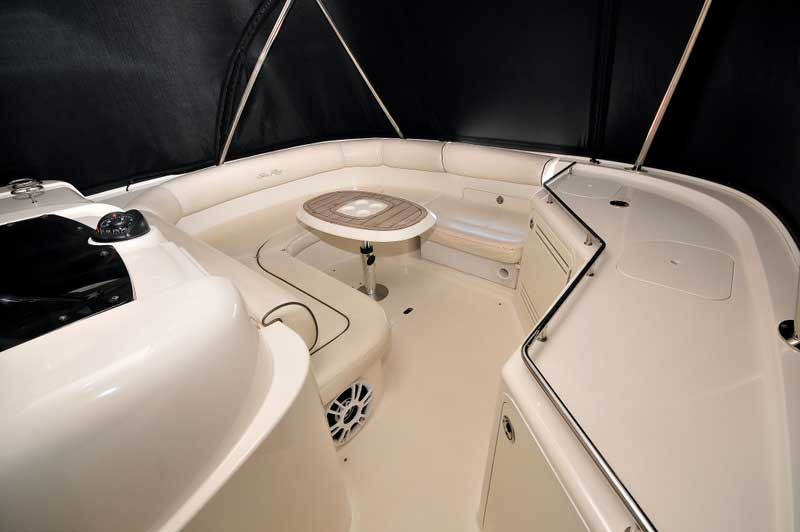 60 ft. Sea Ray - Luxury Power Yacht - Forward-Lounge-Seats-Sofa-Table-with-Wet-Bar-Speakers--Air-conditioned-Outlets