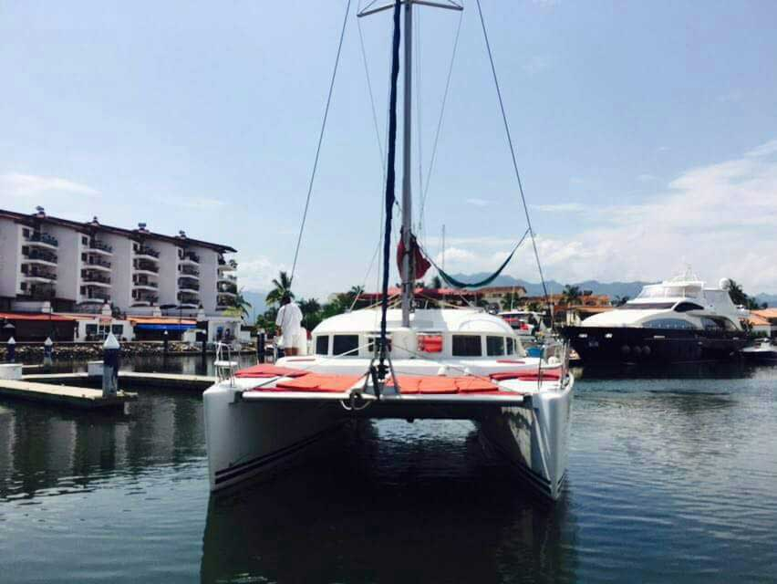 38 FT Lagoon Catamaran; Up to 20 People – (max. 8 to Marieta Islands)-Front-view